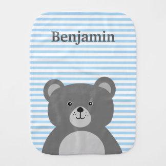 Grey bear with blue striped baby boy's burp cloth