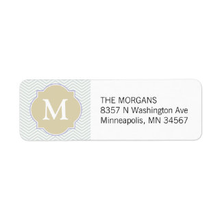 Grey & Beige Modern Chevron Custom Monogram Return Address Label