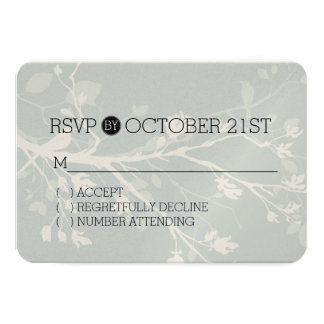 Grey Bird Branches RSVP 9 Cm X 13 Cm Invitation Card