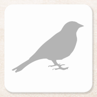Grey Bird Coaster Square Paper Coaster