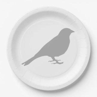Grey Bird Paper Plates