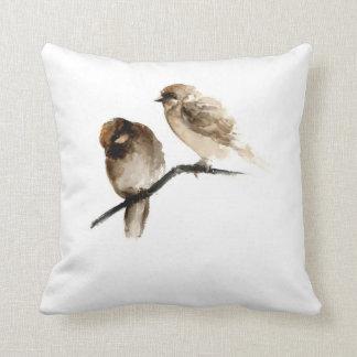 Grey birds white pillow with birdies design throw pillows