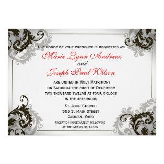 Grey Black and White Flourish Wedding Invitation