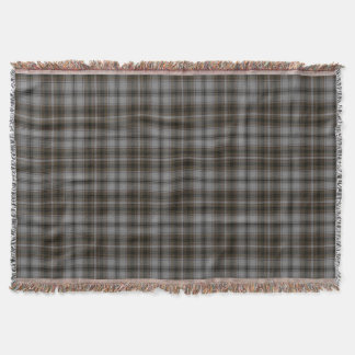 Grey Black Brown Large Tartan Plaid Throw Blanket
