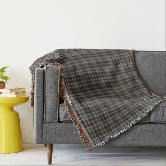 Grey Black Brown Tartan Plaid Throw Blanket