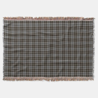 Grey Black Brown Tartan Plaid Throw Blanket