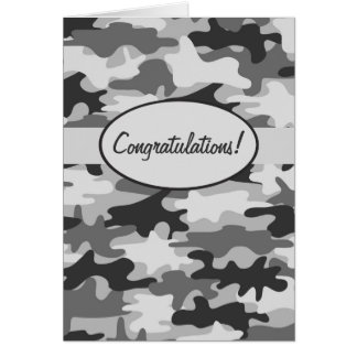 Grey Black Camo Camouflage Congratulations Custom Card