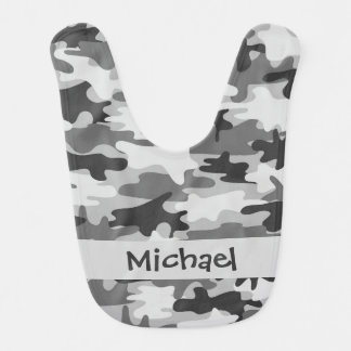Grey Black Camo Camouflage Name Personalised Bibs
