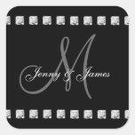 Grey Black Diamonds Monogram Names Wedding Square Stickers