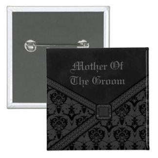 Grey & Black Goth Lace Wedding 15 Cm Square Badge