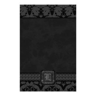 Grey & Black Goth Lace Wedding Stationery Paper