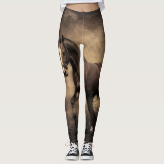 Grey Black Horse run Leggings
