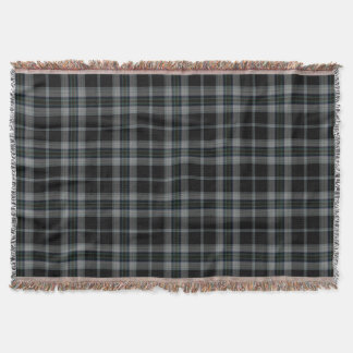 Grey Black Large Tartan Plaid Throw Blanket