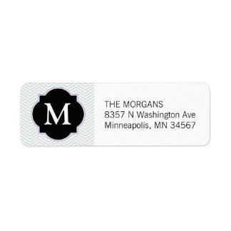 Grey & Black Modern Chevron Custom Monogram Return Address Label