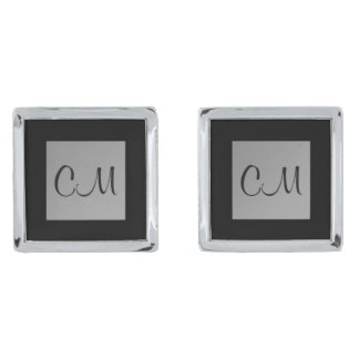 Grey Black Monogram Initials 4Craig Morgan Silver Finish Cuff Links