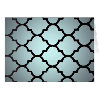 grey black Moroccan Lattice Repeatable Pattern Greeting Cards