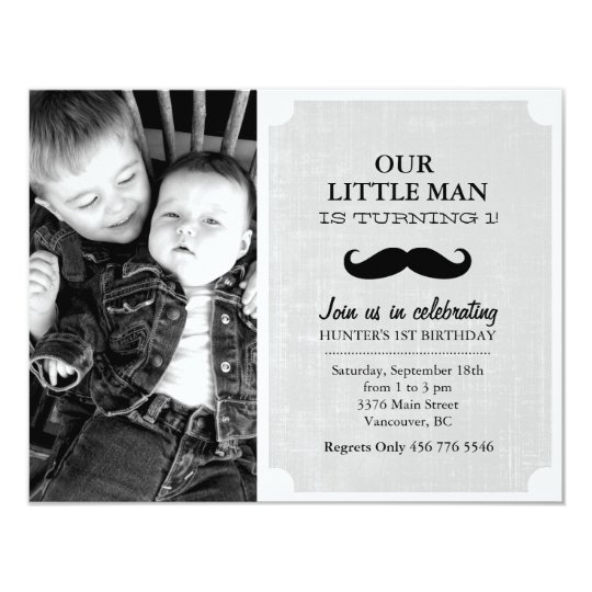 Grey & Black Moustache Photo First Birthday Invite
