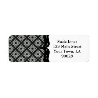 Grey Black pattern Return Address Label