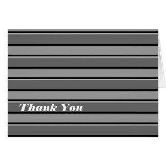 Grey Black Stripes Custom Thank You Card