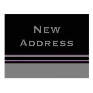 grey black stripes New Address Post Card