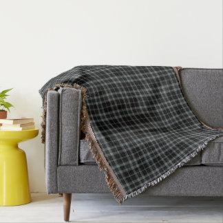 Grey Black Tartan Plaid Throw Blanket