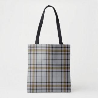 Grey Black Tartan Plaid Tote Bag