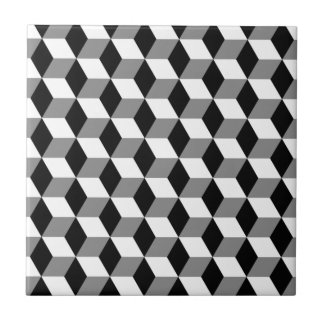 Grey, Black & White 3D Cubes Pattern Small Square Tile