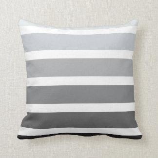 Grey Black White Ombre Horizontal Stripes Cushion