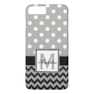 Grey, Black & White Polka Dots and Chevron Mobile iPhone 8 Plus/7 Plus Case