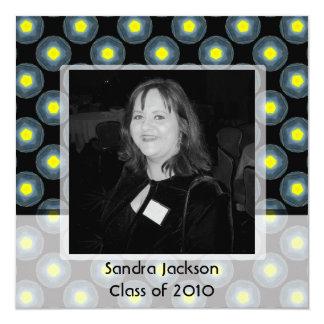 grey black yellow graduation 13 cm x 13 cm square invitation card