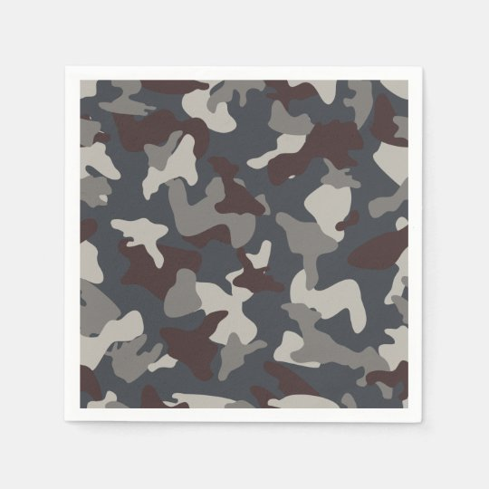 Grey Blue army camo camouflage pattern Disposable Serviettes