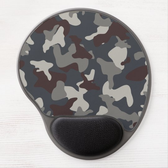 Grey Blue army camo camouflage pattern Gel Mouse Pad