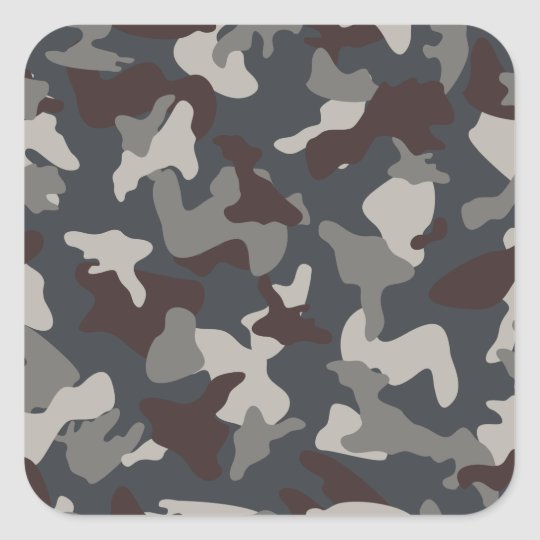 Grey Blue army camo camouflage pattern Square Sticker