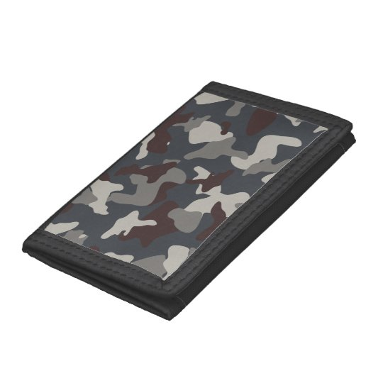Grey Blue army camo camouflage pattern Tri-fold Wallets