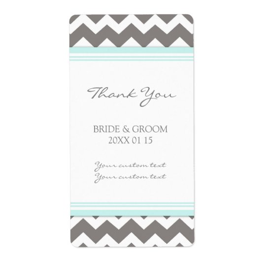 Grey Blue Chevron Wedding Labels