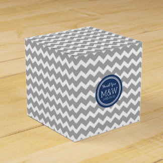 Grey Blue Chevron Wedding Monogram Favor Box Favour Box