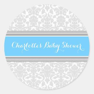 Grey Blue Damask Baby Shower Favor Stickers Round Sticker