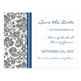 Grey Blue Damask Save the Date Wedding Postcard