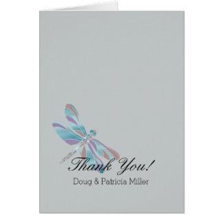 Grey Blue Dragonfly Thank You Card