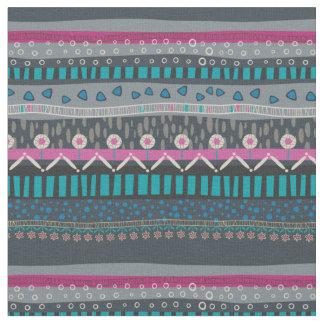 Grey Blue Floral Tribal Print Fabric