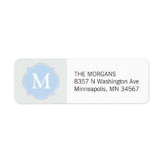 Grey & Blue Modern Chevron Custom Monogram Return Address Label