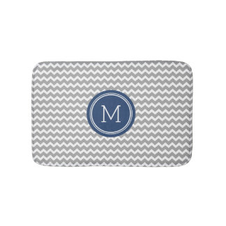 Grey Blue Monogram Chevron Stripes Bathmat