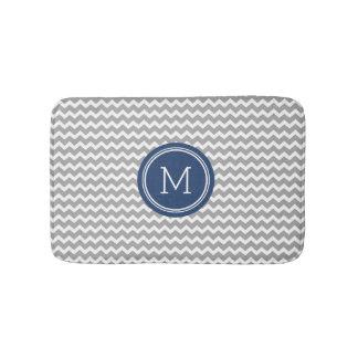 Grey Blue Monogram Chevron Stripes Bathmat Bath Mats