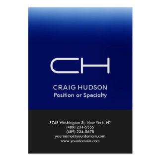 Grey Blue Monogram Professional Business Card