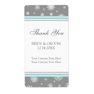 Grey Blue Snowflakes Winter Wedding Labels