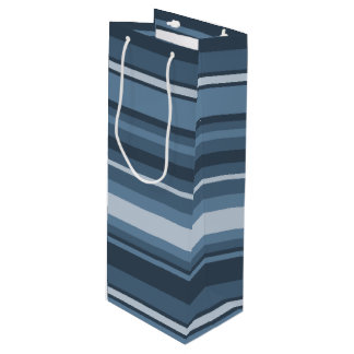 Grey-blue stripes wine gift bag
