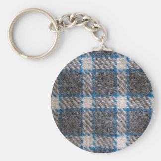 Grey & blue Tartan material Basic Round Button Key Ring