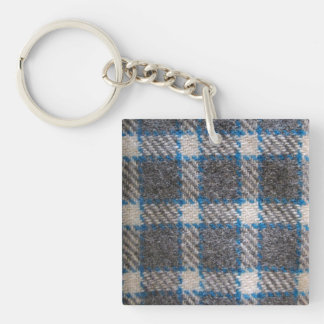Grey & blue Tartan material Double-Sided Square Acrylic Key Ring