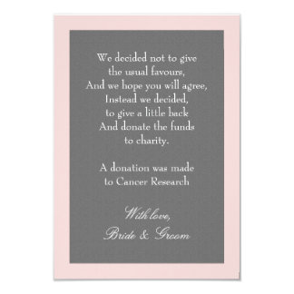 Grey & Blush Pink Wedding Donation Note Card