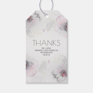 Grey Blush Watercolor Floral Boho Feathers Wedding Gift Tags